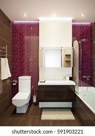 Modern bathroom interior with beige, violet purple and brown colors tiles. 3d rendering.