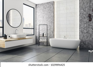 Modern bathroom interior with city view and blank poster on wall. Design and style concept. Mock up, 3D Rendering