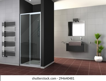 Modern Bathroom interior collection 3D rendering