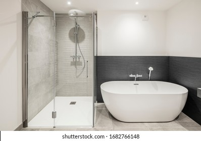 modern bathroom interior design wood and stone