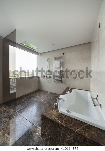 Modern bathroom interior with double sink and large mirrors, bath tub, tiles, view window and towels.