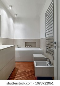 modern bathroom interior in the foreground the bidet and chrome radiator while  in the background the bathtub, the floor is made of wood