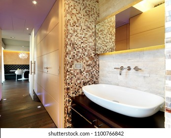 modern bathroom interior in the foreground the countertop washbasin overlooking on the corridor in the background the dining table the floor is made of wood