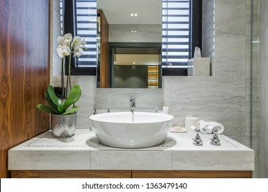 Modern bathroom interior in luxury apartment
