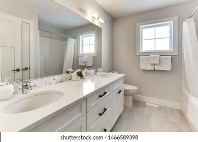A modern bathroom interior in a new home