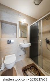 Modern bathroom interior with shower cabin