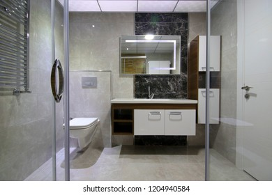 Modern Bathroom Interior from Shower Cabin