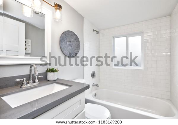 Modern Bathroom Interior White Vanity Topped Stock Photo Edit Now 1183169200