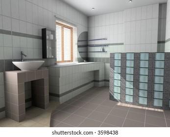 the modern bathroom  interior(3D image)