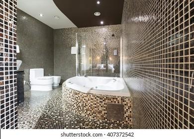 Modern bathroom with jacuzzi tub