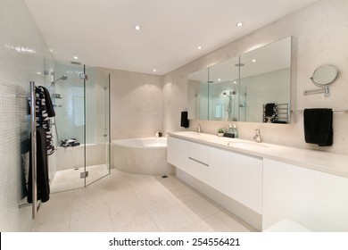 Modern bathroom in luxury apartment