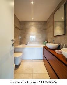 Modern bathroom in a marble designer apartment. Nobody inside