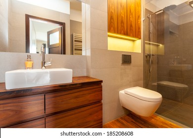Modern bathroom with a shower and vessel sink