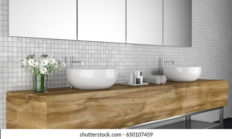 modern bathroom with sink 3d rendering