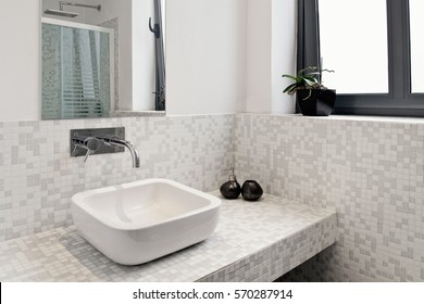 Modern Bathroom Sink Basin With Window
