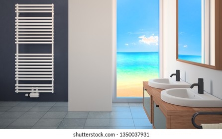 Modern bathroom with towel warmer and and sea view clouds and beach