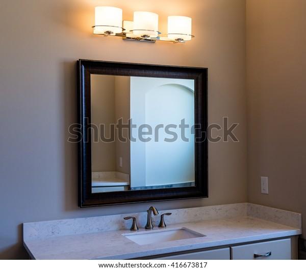 Modern Bathroom Vanity Mirror Lights Stock Photo Edit Now 416673817