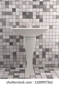 Modern bathroom washbasin with chrome faucet and tiled wall and floor