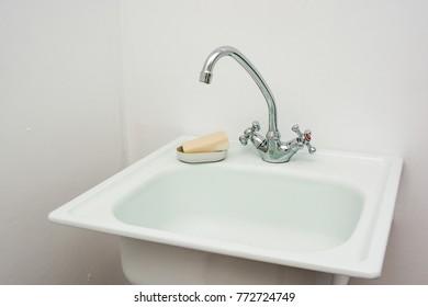 Modern bathroom washbasin with chrome faucet