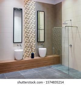 Modern bathroom with washbasins and shower