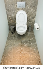 Modern bathroom or WC toilet interior, with clean detais and modern design