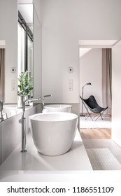 Modern bathroom with white and tiled gray walls. There are white sinks with chrome faucets, mirrors, green plant in a steel pot, black armchair with a floor lamp, light carpets. Vertical.