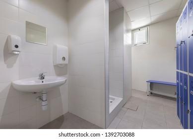 Modern bathroom in a work office.