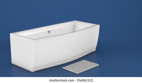 Modern bathtub isolated on blue background. 3D illustration.