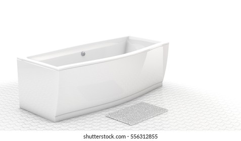 Modern bathtub isolated on white background. 3D illustration.