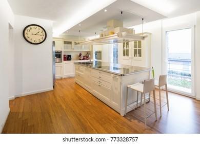 Modern beautiful kitchen and parquet in design house