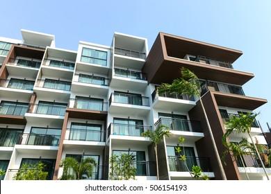 Modern beautiful luxury hotel resort building and blue sky in Pattaya city, Thailand
