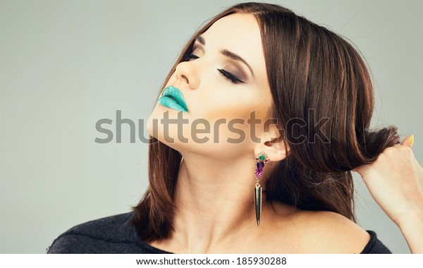 Modern beauty. Close up woman face.