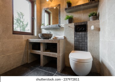 Modern beauty toilet interior with marble tiles