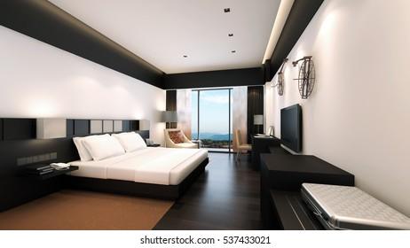 Modern bedroom / 3D Rendering