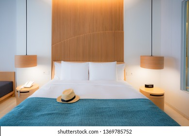 Modern bedroom. Beautiful interior of hotel, apartment with double bed