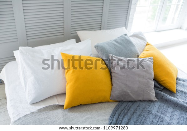 Modern Bedroom Bed Yellow Gray White Stock Photo (Edit Now ...