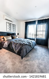 Modern bedroom with a carpet floor space illuminated using sunlight and decorated using dark bedding items