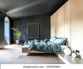 Modern bedroom with dark walls and a parquet on the floor. There is a bed with multicolored linens, lockers, white sphere lamps, green plant in a pot, window. Sun shines into the room. Horizontal.