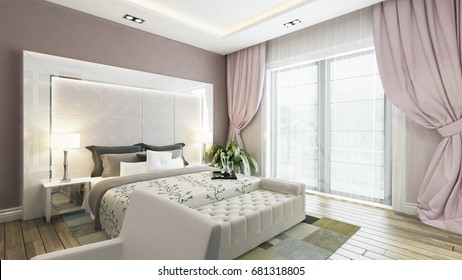 modern bedroom design with pink wall and curtain rendering by Sedat SEVEN