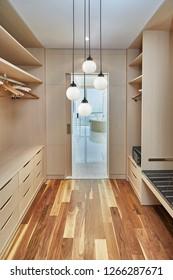 modern bedroom dressing closet for interior design and lamp