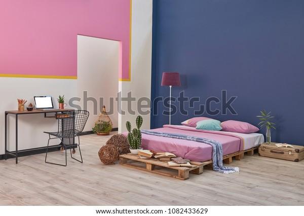 Modern Bedroom Home Design Blue Pink Stock Image   Download Now