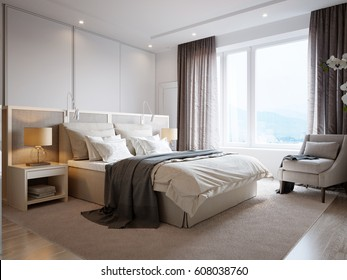 Modern Bedroom Interior Design with White Walls, Soft Beige Curtains, White Furniture and Large Wardrobe. 3d illustration.