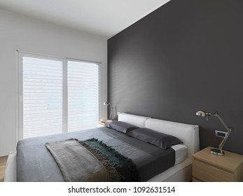 modern bedroom interior with fabric bed the brown wall and wood floor