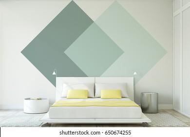 Modern bedroom interior. Interior mock-up. 3d render.