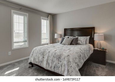A modern bedroom interior in a new home