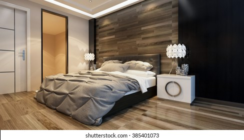 Modern Bedroom Interior With Overhead Lighting And A Stylish Bed In Front Of  A Wooden Wall