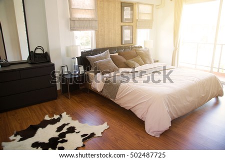 Modern Interieur Warm : Modern bedroom interior warm light sun stock photo edit now