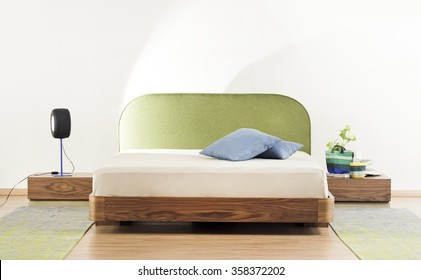 Modern Bedroom Interior, Wooden Double bed, Green , Modern light, White room , Interior design, Front View