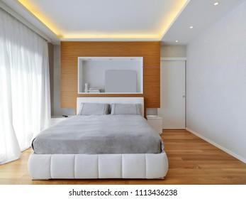 modern bedroom interior with wooden floor