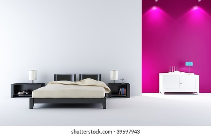 modern bedroom setting - with bed and rack